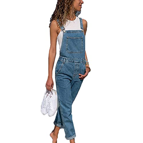 WJANYHN Monos de Mezclilla Pantalones de Mujer Pantalones de Mujer de Talla Grande Jeans de Color Liso