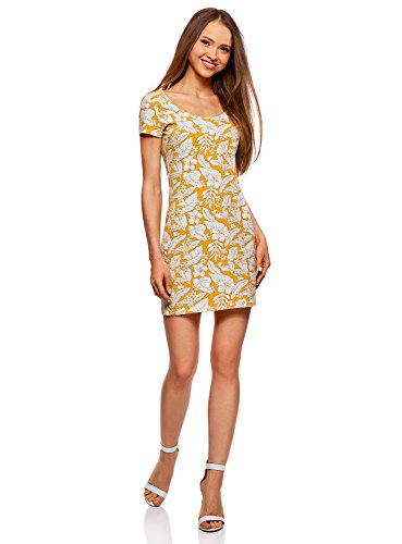 Vestido amarillo ajustado de fiesta