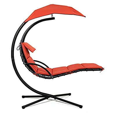 eZone Outdoor Hanging Hammock Chair Lounge Swing, Curved Chaise Lounge Chair Swing for Backyard, Patio and More (Rust)
