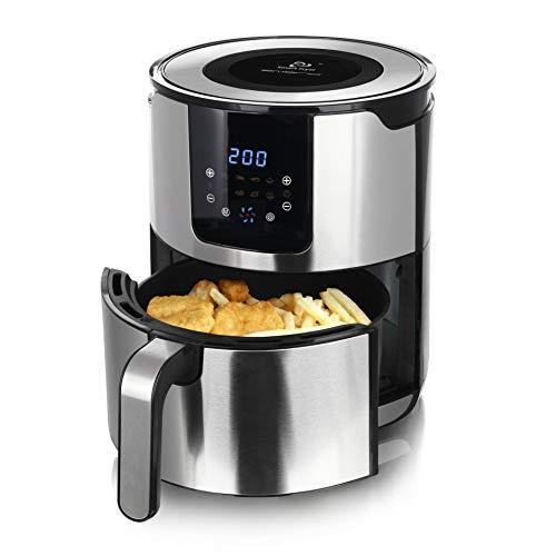 Emerio Heißluftfritteuse, Air Fryer, Smart Fryer, Frittieren ohne Öl, leicht zu reinigen, 5.0L Volumen für die ganze Familie, Edelstahl, 1400 Watt, BPA frei, Digital, 7 Automatik Programme