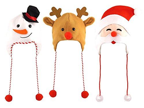 3 Assortis Noël Adulte Chapeaux Un Pack de Chaque Fourni