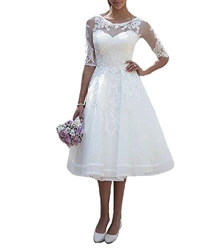 Carnivalprom Damen Spitze Hochzeitskleid Brautkleid mit Ärmeln Sheer Rundhals...