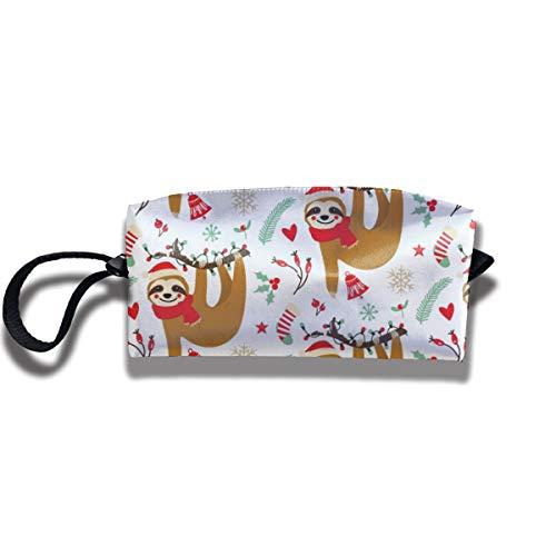 Bbhappiness Pouch Handbag Cosmetics Bag Case Purse Travel & Home Portable Make-up Receive Bag Christmas Sloth Pattern