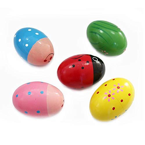 Holz Percussion Musical Egg Maracas Egg Shaker Holz handbemalt Hühnereier 5 Stück
