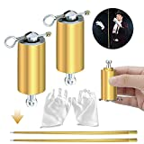 ANYI 2Pcs Pocket Staff, Metal Appearing Cane with 2 Pcs Gloves, Portable Collapsible Staff, Extendable Cane Magic Wand for Street Magic Trick Stage Magic Show Professional Magicians Golden,43.3Inchs