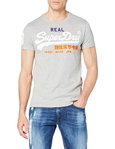 Superdry Herren Vintage Logo Tri Tee T-Shirt, Grau (Montana Grey Grit VY8), L