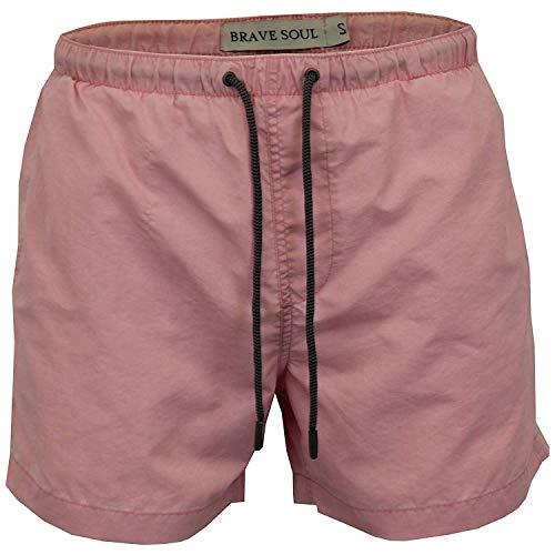 Brave Soul Herren Schwimm Shorts Badehose Morrison Netzfutter Nylon Strand Sommer - Pastellrosa - Morrisonpkb, L