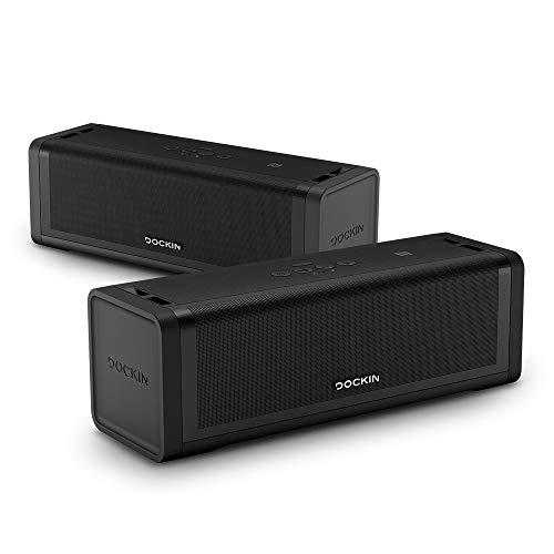 DOCKIN® D FINE+ 2 Hi-Fi Bluetooth Speaker – Lautsprecher im Set für Stereo Link Funktion, 50W, Wireless & wasserfest, starker Akku (16h), DREI Soundmodi, Outdoor Soundbox tragbar, Tragegurt inkl
