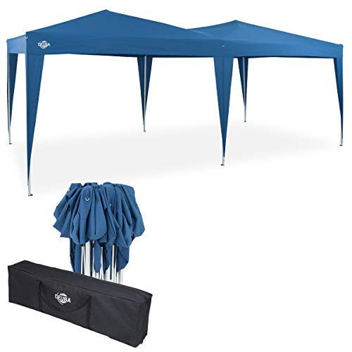 Deuba Pavillon Capri 3x6m Pop-Up Blau Wasserabweisend Inkl. Tasche UV-Schutz Faltpavillon Gartenzelt Partyzelt Zelt