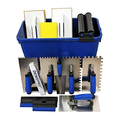DEWEPRO® Fliesenwaschset - 16-teiliges Fliesenleger Waschset XL - 22l Waschbox - Zahnkellen - Schwammbrett - Glättekelle