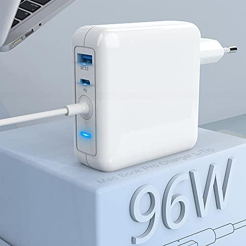 Compatible con Cargador Mac Book Pro de 60 W L + Cargador USB C 18 W + Cargador USB de 18 W, Fuente de alimentación USB C PD para Mac Book Pro Pad Pro, Google Pixel, teléfono, Galaxy y más