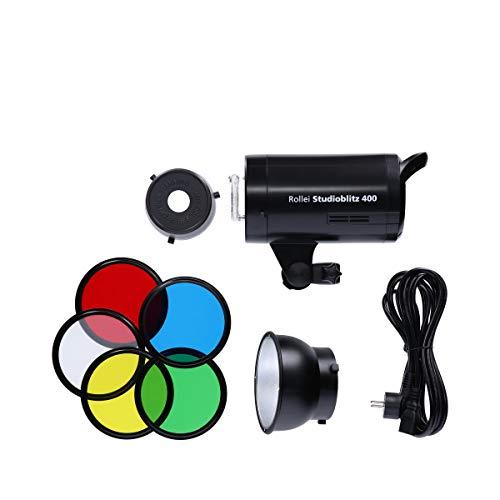 Rollei Studio Flash 400 - Flash de Estudio Profesional con una Potencia de 400 vatios por Segundo, Incl. Reflector con 5 geles de Color Retratos y fotografía de Productos