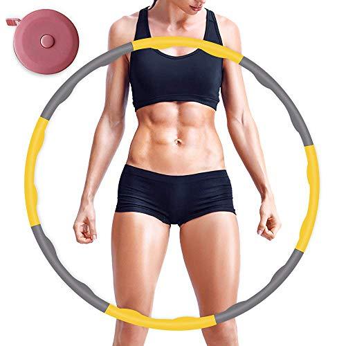 Hula Hoop de Fitness para pérdida de Peso, Plegable y Ajustable, para Entrenamiento, para la pérdida de Peso Profesional, Principiantes y para niños (Amarillo)