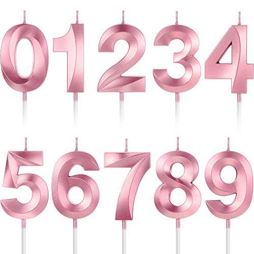 10 Piezas Velas Numerales de Pastel Velas de Cumpleaños Número Decoración Topper de Pastel de Número 0-9 con Purpurina para Suministro Celebración de Fiesta Aniversario de Reuniones (Rosa)