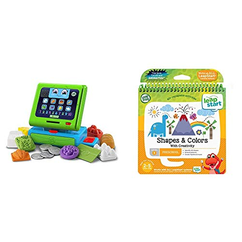 LeapFrog Count Along Till Educational Interactive Toy Shop With 20-Piece Pretend Play Set & 21503 LeapStart Nursery Shapes/Colours and Creative Expression Activity Book