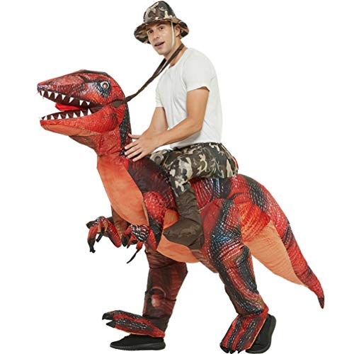 Adult Inflatable Dinosaur Costume Halloween Christmas Party Fancy Dress (Red)