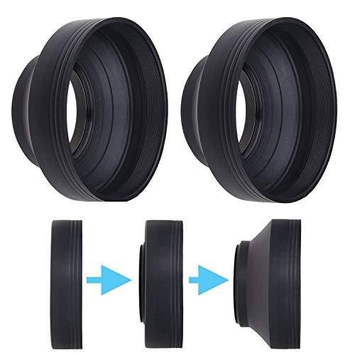Kamera Objektiv Sonnenblenden - 52mm - Gummi - 2er Set - Zusammenklappbar in 3 Stufen - Sonnenschutz/Schild - Reduziert Objektiv Flare und Blendung