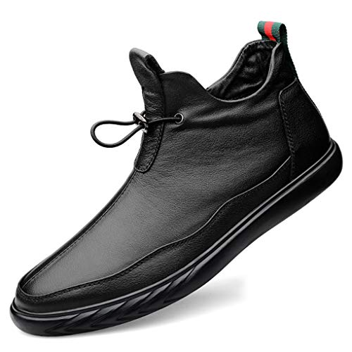 Cuero Botines Chelsea Hombre Lado Cremallera Botines Cómodos Zapatos Oxford Casuales Suela Blanda Cuero Parte Superior Loafers 38-44