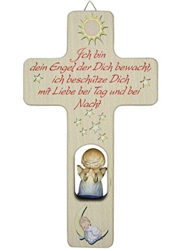 MaMeMi Kinderkreuz geschnitzter Engel blau * Spruch Ich Bin Dein Engel.' *