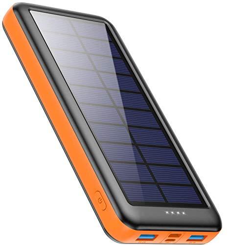 Feob Cargador Solar 26800mah, Power Bank Solar【2020 IC de Control Inteligente】con Entradas de Tipo-C, Micro USB o Paneles Solares, Carga Rápida Batería Externa Universal para Smartphones, Tabletas