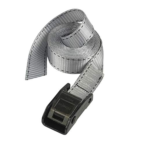 Master Lock 3112EURDAT Gepäckgurt mit Zamak legierten Bügel, Grau, 5 m x 25 mm Gurt