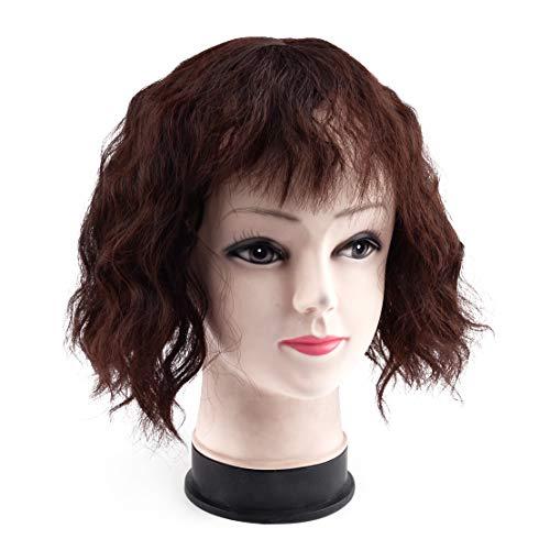 LETAOSK Marron foncé 10 * 12cm Base de Dentelle Curly Topper Toupee Clip Top Perruque pour Femmes