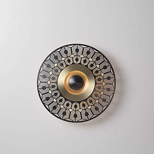 MGWA Lámpara de pared de lujo, moderna, para sala de estar, dormitorio, hotel, cobre, pasarela, balcón, baño, fondo hueco, luz de pared de 32 cm de diámetro, distancia de la pared: 4 cm (tamaño: D)