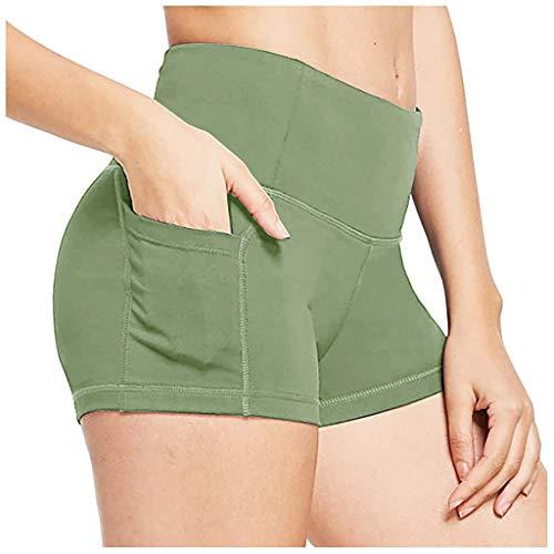 HULKY Yoga Leggings Damen High Waist Sport Shorts mit Seite Handy Taschen Kompression Workout Leggings Fitnessshose Laufhose Caprihose (Grün,L)