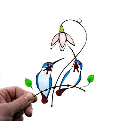 KLOVA Adornos para Ventanas, Hermosas Flores, colibrí, vidrieras, Adornos para Exteriores, Pastoral, jardín, Ventana, decoración Colgante, Azul