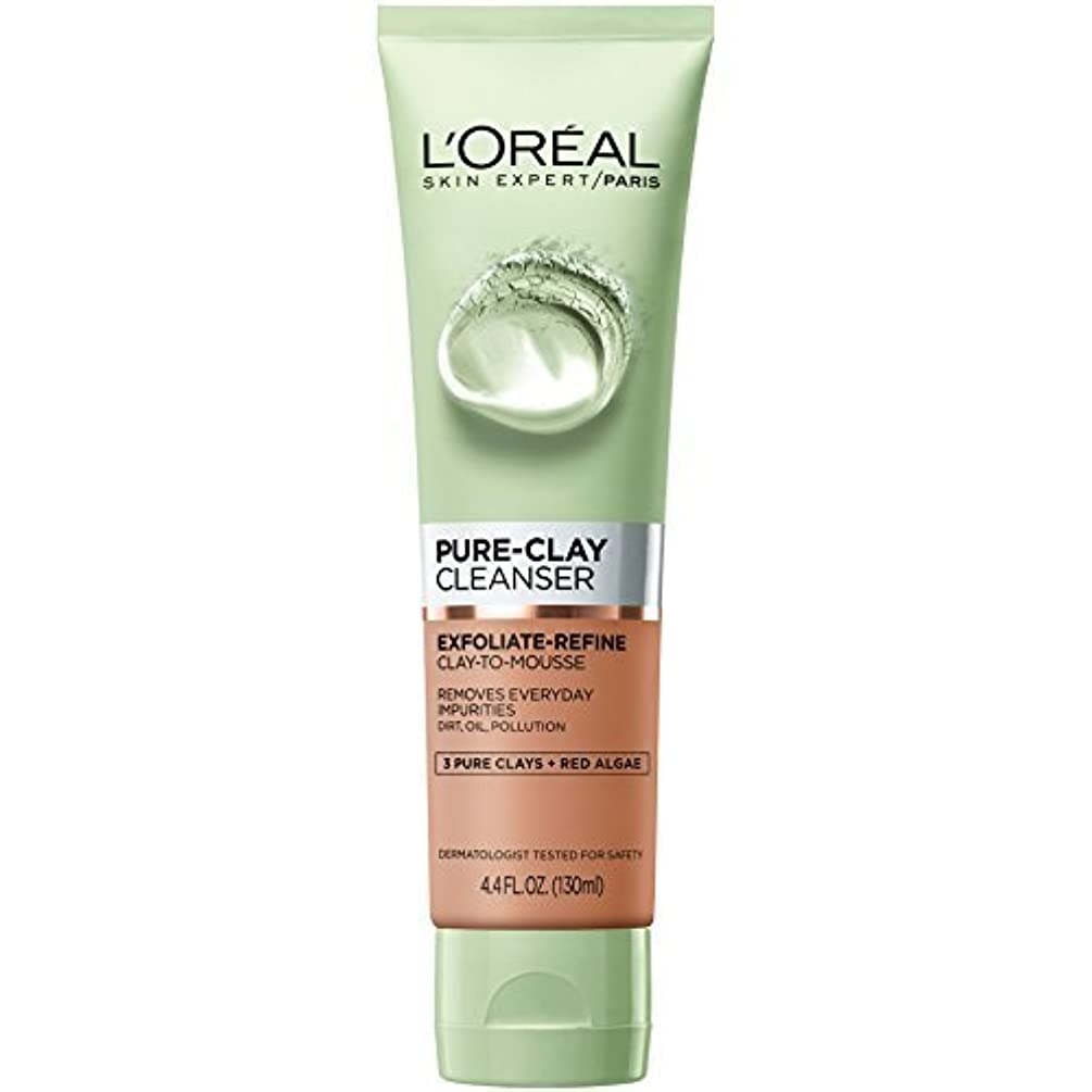 L'Oreal Pure Clay Cleanser with Red Algae, Exfoliate Refine, 4.4 fl oz (Pack of 2)