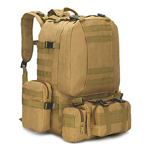 WintMing Military Tactical Backpack 45+10L Army 3 Day Assault Pack Molle Camping Hiking Rucksack Traveling Daypack (B08-Khaki)
