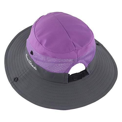 Muryobao - Sombrero de verano para mujer, ala ancha, malla ajustable, plegable, color morado