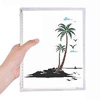 椰子の木の雲のカモメのビーチ 硬質プラスチックルーズリーフノートノート