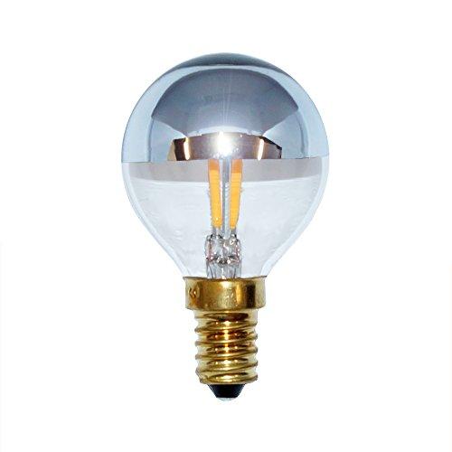 LED Filament Tropfen 2W = 25W E14 Kopfspiegel Silber Glühfaden 360° 2700K Kopfspiegellampe