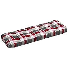 vidaXL Cojín de Sofá de Jardín Respaldo Paleta Banco Asiento Patio Salón Sala de Estar Muebles Acolchado Grueso Cómodos Patrón de Cuadros Tela Rojo