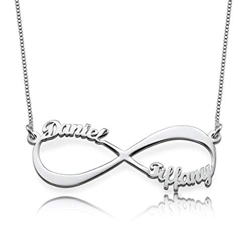 Infinity Namenskette 925 Sterling Silber mit 2/3 / 4 Wunschnamen, Individuelle Unendlichkeit Halskette Silber/Rosegold/Gold mit Namen