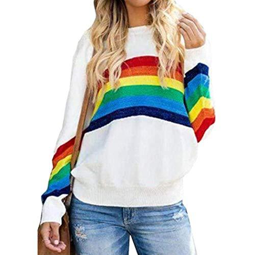 Jersey de Punto arcoíris para Mujer, Jersey de Cuello Redondo con Bloqueo de Color Curvo a Rayas de Manga Larga, Jersey con Temperamento Superior, Viajero-White-S