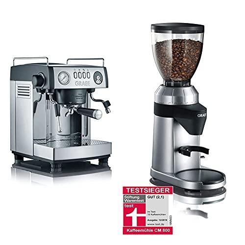 Graef ES902EU Espressomaschine, Aluminium, schwarz-matt/edelstahl & Kaffeemühle CM 800