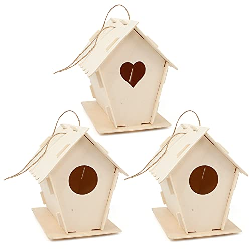 Iyowei 3 Pezzi Casette per Uccelli in Legno Fai da Te, casa degli Uccelli in Legno da assemblare e...