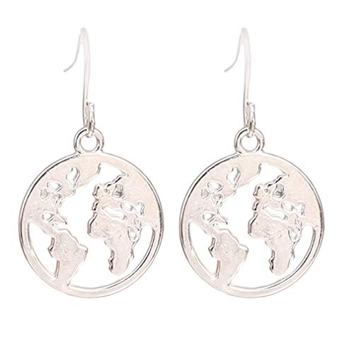 HYhy World Map Stud Ohrring Runde Anhänger Ohrring Hollow Dangle Ohrringe,Silber
