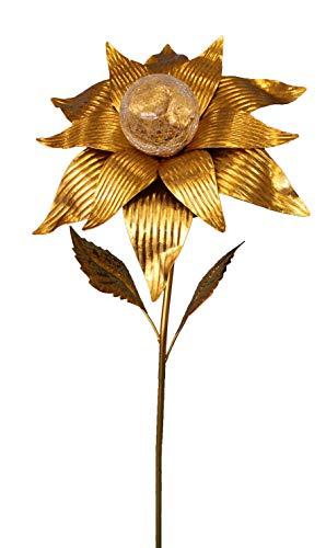 ABC Home Garden Solarstecker Gartenstecker Blume Solarleuchte Lichtsensor EIN-& Ausschalter Groß: 89 cm H, Gold