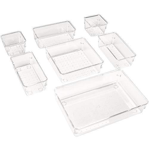 Puricon (7Stück Plastik Schubladen Ordnungssystem Aufbewahrungsbox Stoffkasten Schubladeneinsatz Schubladen Tisch Büro Bade Make-up Organizer, Drawer Divider Cubes Container -Transparent