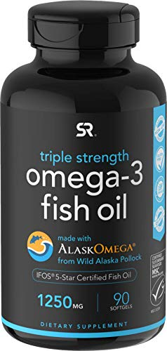 Omega-3 Wild Alaskan Fish Oil (1250mg per Capsule) with Triglyceride EPA & DHA | Heart, Brain & Joint Support | IFOS 5 Star Certified, Non-GMO & Gluten Free - 90 day Supply!
