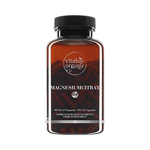 Magnesiumcitrat - 90 vegane Kapseln - Reinsubstanz, frei von Zusatzstoffen, vegan