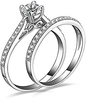 Size 7 Platinum Plated Cubic Zirconia Engagement Wedding Ring Set