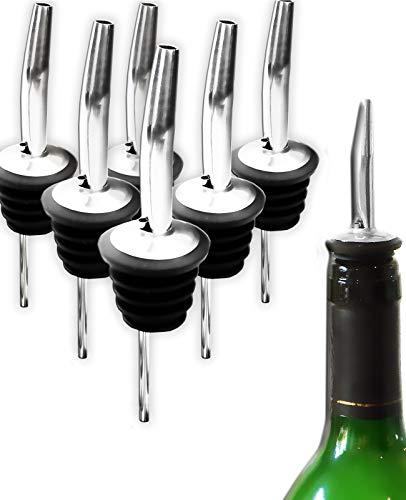 HomeTools.eu® - 6X Flaschen-Ausgießer, für Wein-Flaschen, Schnaps-Flaschen, Stöpsel für Spirituosen, Haus-Bar, Restaurant, Gastronomie, Diskothek, Küche, Edelstahl, Gummi-Dichtung, 6er Bar-Set