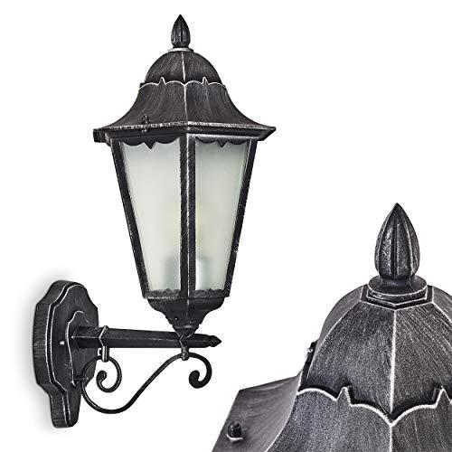 Buitenwandlamp Lignac Frost, wandlamp naar boven in antieke look, gegoten aluminium in zwart/zilver met matglazen ruiten, wandlamp met E27 fitting, 60 Watt, retro/vintage buitenlamp voor terras en binnenplaats