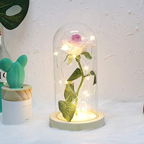 YoBENS NBM 6 kleuren schoonheid en het best rode roos in een glazen koepel op een houten sokkel LED Rose lampen Kerstmis