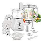 KTMAII Compact Food Processor Blender Combo, 5 Cup Bowl, Dough Blade, Mashing Blades, Slicing and Grating Discs, 500 Watts, CY-312, White