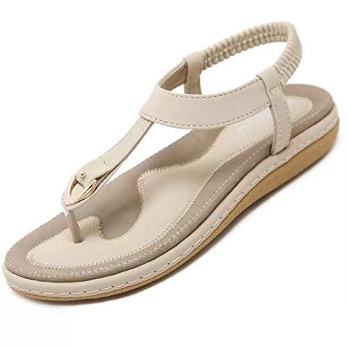 SOMIC Sandalia Playa Bohemia Mujer Adulta Verano Casual Tacón Plano Zapato Tira Elástica FILP Flop Chancleta Calzado Antideslizante de Fondo Suave Cuero Goma Ligero Beige Talla EU 39 (CN 40)